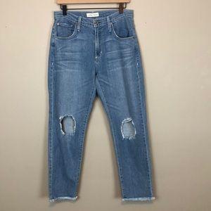 James Jeans Donna Light Wash Distressed Hem Jeans